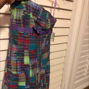 Madras plain strapless dress. NWT